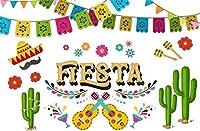 新しいフィエスタパーティーの背景7x5ftメキシコフィエスタカーニバルソンブレロの帽子とシェーカーギター写真の背景誕生日ベビーシャワーの装飾シンコデマヨフォトブースデジタル壁紙