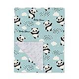 Custom Name Baby Blanket with Name for Baby Kids Boys Girls Panda Patterns Printed Toddler Bed Blanket Plush Minky Throw, 30' X 40'