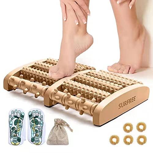 Fußmassagegerät,hergeben Reflexzonenmassage Socken und Fingermassagegerät Ringe, Fußmassagerolle für Fußmassag,Shiatsu Akupressur Entspannung mit Plantarfasziitis,Bogenschmerzlinderung (Holzfarbe)