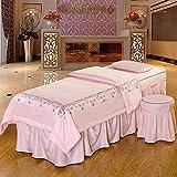 ZHUAN Lace Modal Massage Tischdecke Sets Baumwolle Bettdecke Hochwertige Beauty Bettdecke Tagesdecke Mit Gesichtsauflage Lochrosa 75x190cm (30x75inch)