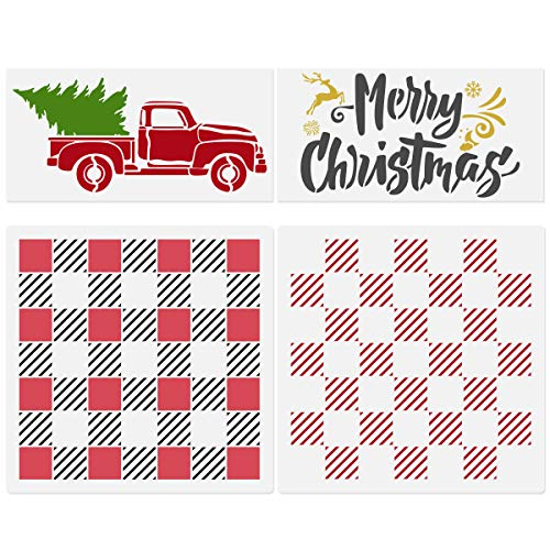 Buffalo Plaid Checker Stencils, Truck with Christmas Tree Stencil, Merry Christmas Stencil, 4 Pcs Rustic Farmhouse Christmas Reusable Mylar Templates for DIY Wood Wall Art Home Decor