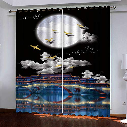 YUNSW Living Room Bedroom Kitchen Garden Shade, Two-Piece Curtain With Holes, 3D Landscape Painting Curtain