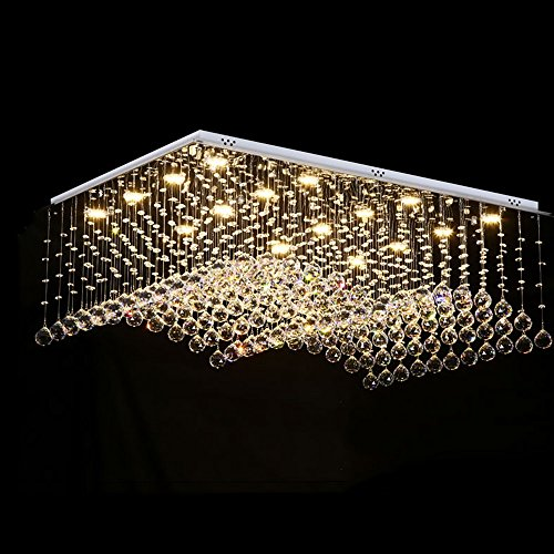 Led Living Room Lights Chandeliers Rectangulaires En Cristal ( taille : 80*60cm two-color dimming )