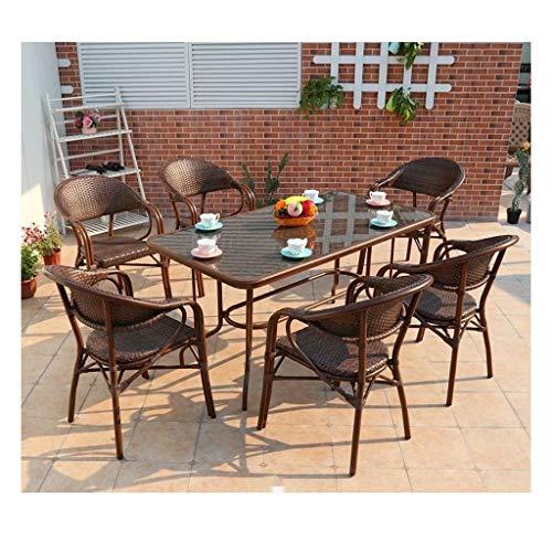 DYYD Juegos de Muebles de jardín Muebles de Exterior Ratan Patio de Muebles de la Familia de césped Muebles de Exterior for jardín al Aire Libre Junto a la Piscina