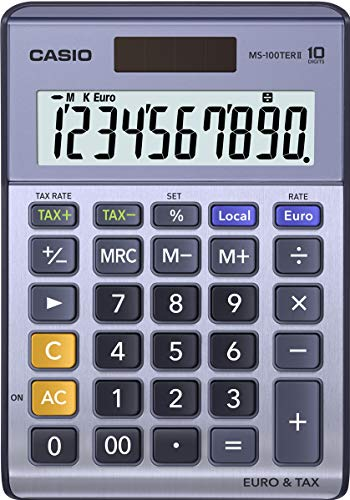 Casio MS-100TERII - Calculadora básica, 30.7 x 103 x 145 mm, azul
