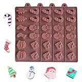 Molde de Silicona Para Chocolate NavideñO, 4 Piezas Moldes Para Hornear de Gelatina de Caramelo Bandejas áRbol MuñEco de Nieve SartéN Antiadherente Para la Fiesta de Navidad DecoracióN de Pasteles DIY