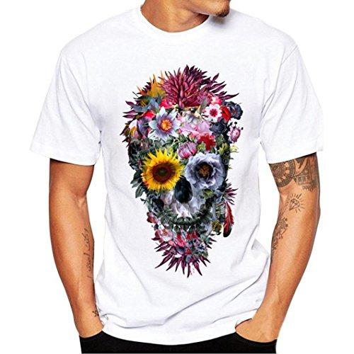 Liquidación Hombres de Verano Cuello de la Personalidad súper Moda cráneo Imprimir Camiseta de Manga Corta Camiseta Delgados Tops (Blanco, XXL)