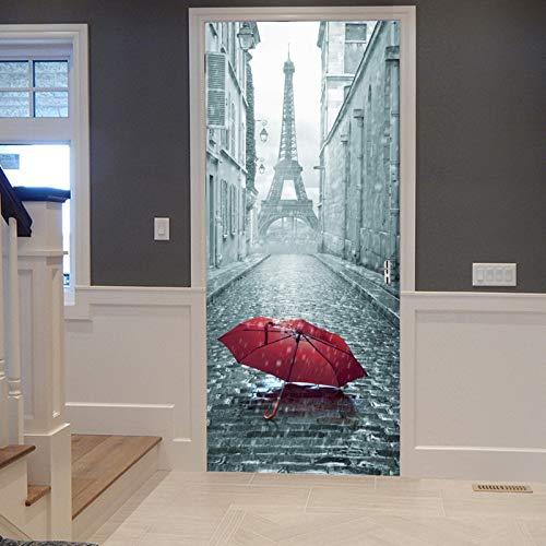 A.Monamour Türtapete Selbstklebend Türfolie Türposter 3D Roter Regenschirm Auf Gasse Zum Pariser Eiffelturm Romantischer Regentag Vinyl Folie Türdeko Tapete Wandbild Türaufkleber Türtattoo 77 x 200 cm