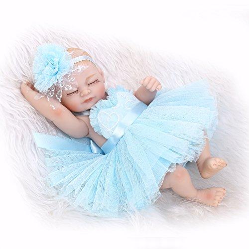 iCradle Lovely Reborn Baby Doll Soft Vinyl Silicone Full Body Girl Eyes Closed Preemie Tiny 10inch 26cm New Born Baby Dolls Blue Dress