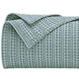 PHF 100% Cotton Waffle Blanket Queen Size, Luxurious Yarn Dyed Weave Blanket Soft Breathable Skin-Friendly, Versatile Blanket Layer for Couch Bed Sofa, Elegant Home Decoration, 90''x 90'' Aqua Green