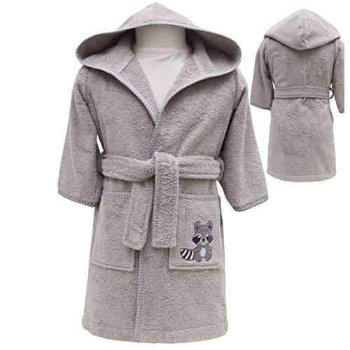 sei Design DEIN BIO-BADEMANTEL Frottee Baby Bademantel | 100% BIO Baumwolle | 6+ bis 3-4 Jahre | Kinder Bademantel 86/92 Taupe