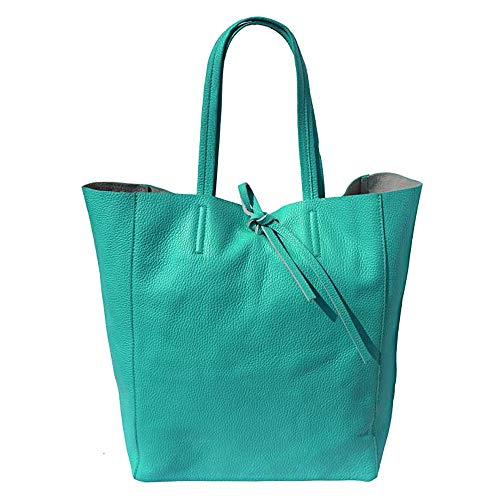 FLORENCE LEATHER MARKET SHOPPING BAG CON LACCETTO IN PELLE 9121 (Turchese)