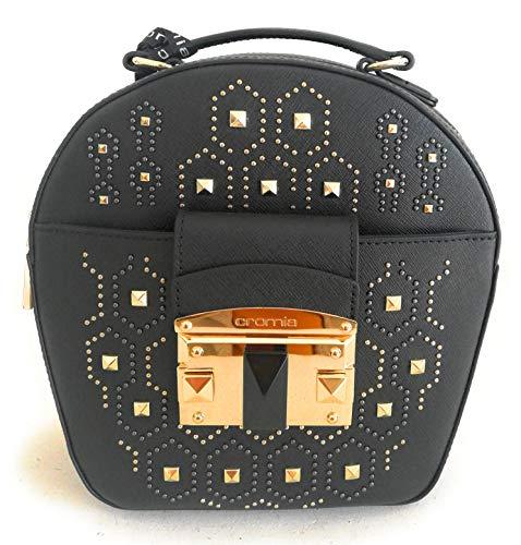 Cromia Damen Handtasche Oval Leder Schwarz mit Schultergurt Linie IT PUNKY 1403877 Gr. 21 x 21,5 x 8 cm