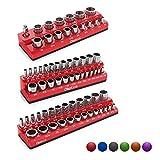 Olsa Tools Magnetic Socket Organizer | 3 Piece Socket Holder Kit | 1/2-inch, 3/8-inch, & 1/4-inch Drive | SAE Red | Holds 68 Sockets | Premium Quality Tools Organizer
