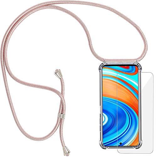 Yohii Funda con Cuerda para Xiaomi Redmi Note 9S/ 9 Pro/Pro MAX + Cristal Templado, Carcasa Transparente TPU Suave Silicon Colgante Ajustable Collar, Case para Xiaomi Redmi Note 9S - Oro Rosa