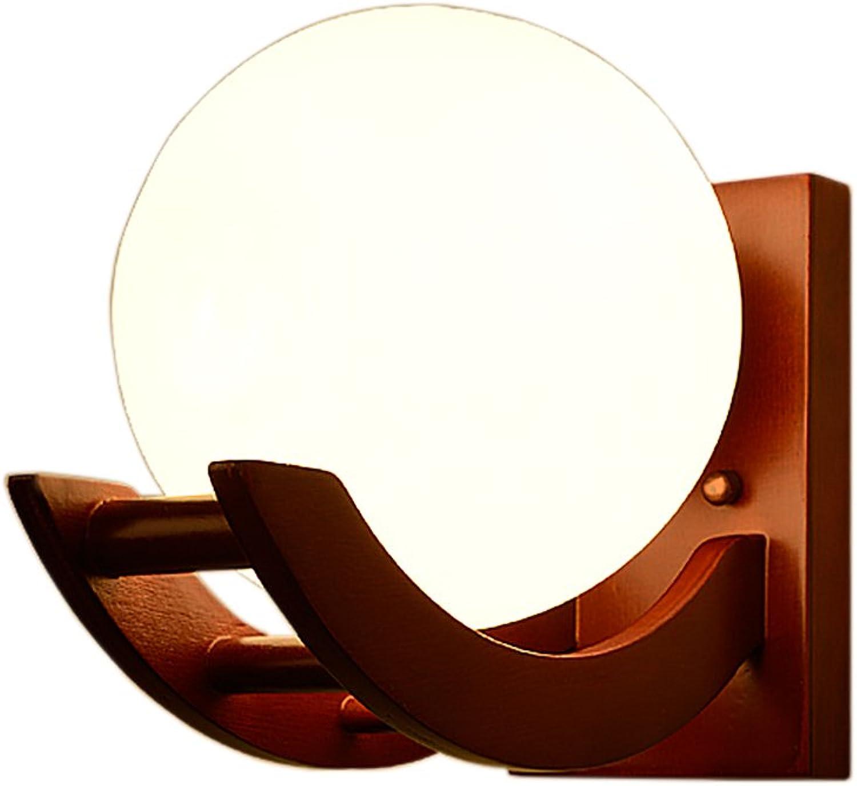 BEGO Wandleuchte - Holz und Glas Material -Kap TypeE27 (nicht inkl. Glühbirne) Modernes einfaches 24cm breites 25.5cm Wohnzimmer Schlafzimmer A++