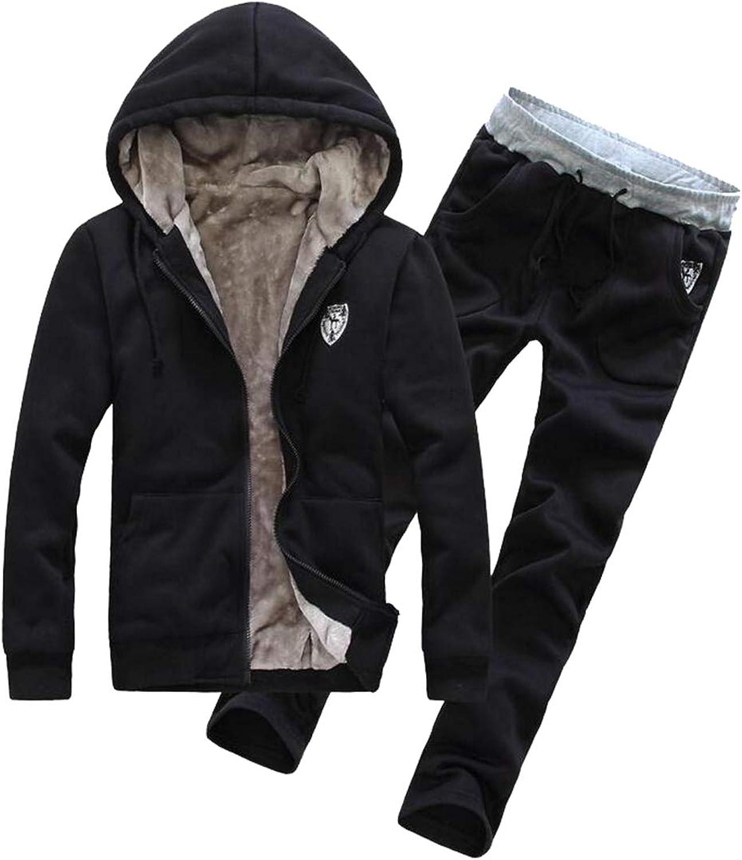 Men's Athletic Tracksuit Set Warm Sportwear Sweat Suit Elastic Sports Set