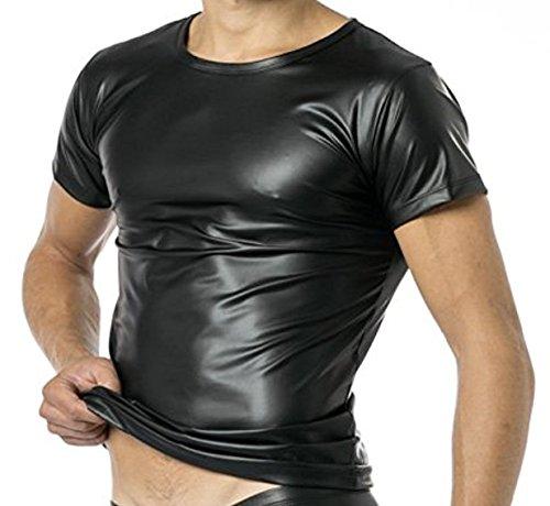 Latex Herren Shirt 1/2 Arm- Vinyl -Shirt VERANO VA-C32-000, Schwarz, XXL