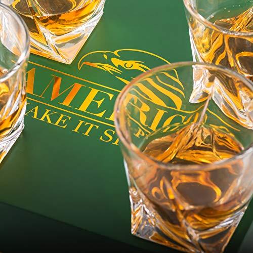Amerigo Premium Whisky Gläser 4-teiliges Set Geschenkbox - Twist Whisky Gläser für Scotch, Bourbon & altmodische Cocktails (340ml) - Whisky-Geschenk für Männer - Vatertagsgeschenk - Bar-Set - 7