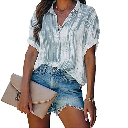 Blusa Mujer Cómodo Estampado Teñido con Lazo Puños Enrollados Exquisito Botón Solapa Mujer Top Casual Clásico Temperamento Moda Retro Sencillez Verano Mujer Camisa