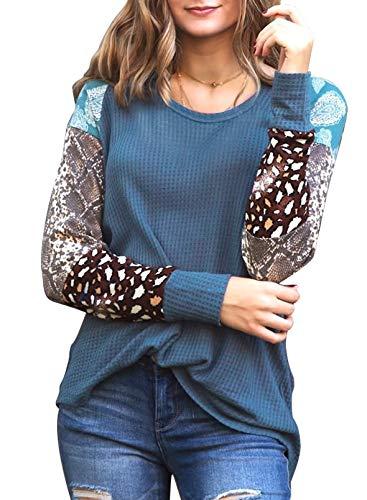 FOBEXISS Blusa de manga larga para mujer, túnica de piel de serpiente con estampado gráfico de leopardo,...