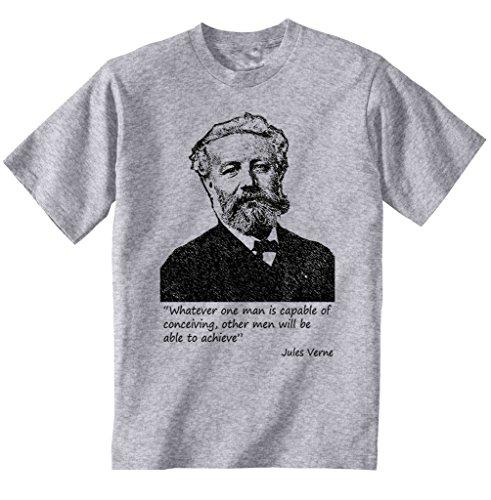 teesquare1st Verne Jules Camiseta Gris para Hombre de Algodon Size Medium