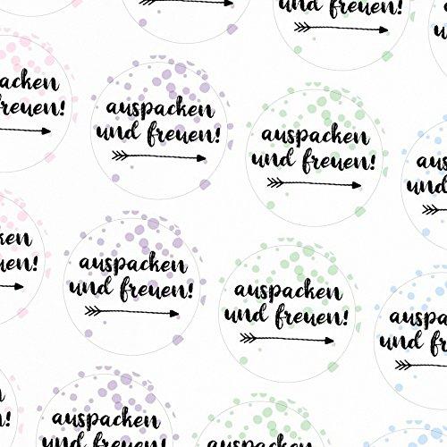 48 moderne Design Etiketten, rund/Auspacken Freuen Bunter Mix/Freude schenken/Herzen/Geschenk-Aufkleber/Sticker/für Firmen/Aufkleber für Geschenke