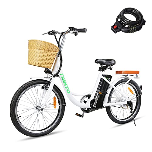 BRIGHT GG NAKTO 22 inch City Electric Bike for Adults Women Ebike with 36V10A Lithium Battery and 250W Motor,White Electric Bicycle with Charger