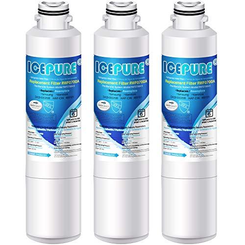 ICEPURE DA29-00020B Samsung Refrigerator Water Filter Replacement for DA29-00020A/B, HAF-CIN/EXP, RF28HFEDBSR, RF263BEAESR, RF263TEAESG, RF28HDEDBSR, HAF-CIN, RF4287HARS,RF4267HARS ,DA97-08006A 3PACK