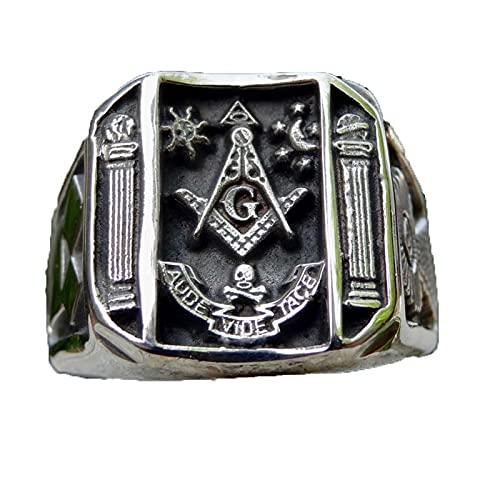 Vintage negro tallado sol calavera Luna anillos para hombres Punk joyería de moda Retro masónico anillo de masonería Biker Club 7 negro