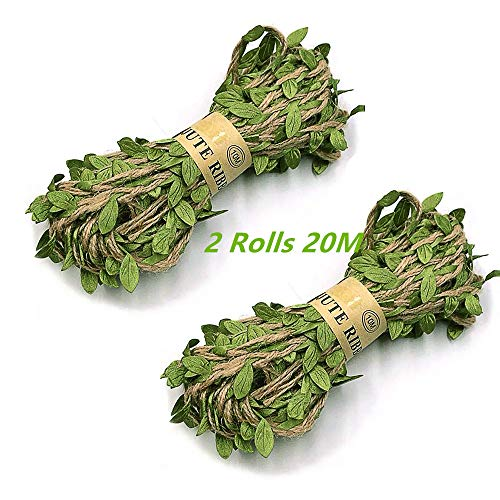 Artificial Vine Greenery Garland,20M Hojas Verdes Cinta Falsa Ivy Leaf Garland para DIY Wedding Party, decoración para el hogar, jardín, Corona y decoración de Flores