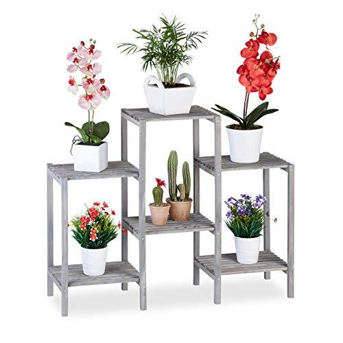 Relaxdays Blumentreppe Holz, Shabby Chic, Innenbereich, Wohnzimmer, Pflanzenregal, 6 Ablagen, HBT 70 x 89 x 27 cm, grau