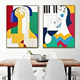 JIAJIFBH Impresiones y Carteles Figura Abstracta Galería Familiar Regalo de la Madre Póster de Arte de Pared Impresiones Modernas Imagen Decoración de la Sala de Estar 2 Piezas 50x70cm sin Marco