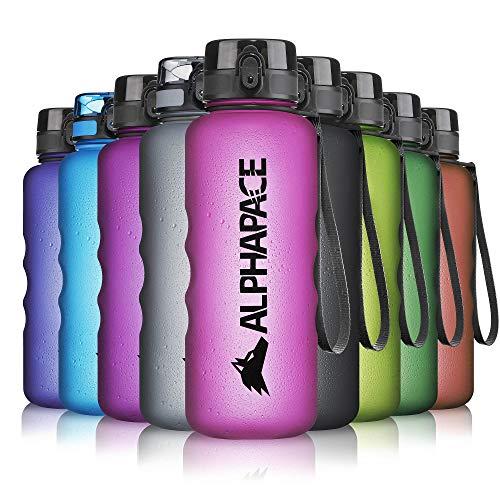 ALPHAPACE Trinkflasche, auslaufsichere 1.500 ml Wasserflasche, BPA-freie Flasche für Sport, Fahrrad & Outdooraktivitäten, Sportflasche mit Fruchteinsatz, in Pink