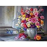 Pintura por números, flores azules, paisaje de floración, pintura DIY por número, lienzo para niños y adultos, regalo, decoración moderna para el hogar A19, 50x65cm