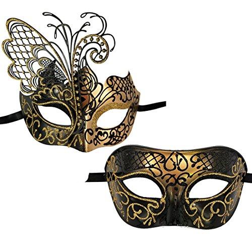 Xvevina - Mascarada de lujo, máscara veneciana para fiestas de disfraces, bailes de disfraces, bailes de disfraces, bailes de máscaras, Halloween talla única Mariposa Pareja Negro Oro