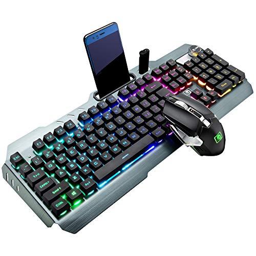 Drahtloses Gaming-Tastatur- und Mausset, 2,4 G wiederaufladbare 4800 mAh große Kapazität,16 RGB LED-Hintergrundbeleuchtung Tastatur mit Knopfsteuerung+2400DPI 7-Farben-Maus mit Hintergrundbeleuchtung