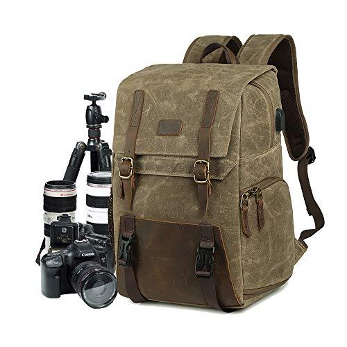 Camera Rugzak DSLR Canvas Camera Tas Grote Capaciteit Waterdichte Anti-shock 15.6'' Laptop SLR Camera Reizen Rugzak Professionele Lens Organizer, kaki, Large