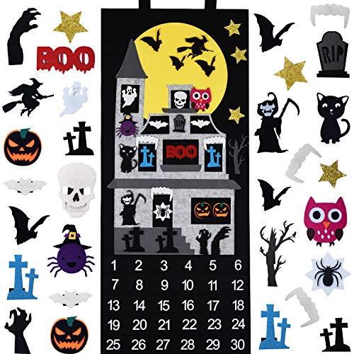 Fayoo Halloween Countdown Advent Calendar for Home Classroom Handmade Door Wall Hanging Decorations with 30pcs Detachable Ornaments