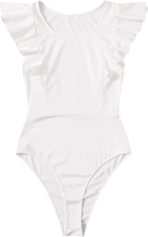 Floerns Women's Solid Ruffled Sleeve Tight Leotard Bodysuit