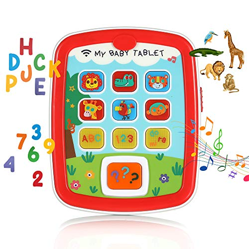 Toddler Learning Tablet Toy for Kids Age 8 Months+, Interactive Educational Smart Touch and Learn Pad to Learn Numbers, Alphabet, Animals, and Play Music with Lights and Sounds and Asks Questions