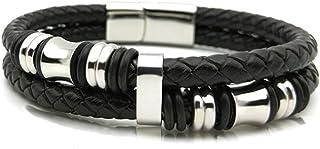 LUXURES 編みこみ ブラックレザー 2連 ブレスレッド 腕輪 20.5cm ステンレス製 収納 ギフトボックス付き
