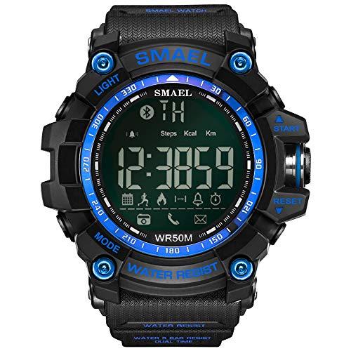 NOBIE Bluetooth Inteligente Relojes Deportivos Podómetro Notificación de Mensajes Ser Aplicable Deportes al Aire Libre Jogging Montañismo Aventuras Uso Diario,Blue