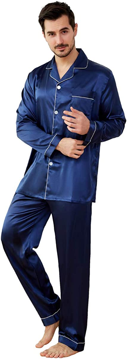 JYHER Mens Satin Pajamas Set, Classic Long Button Down Pjs Set for Men