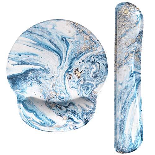 Haocoo Mauspad und Tastatur Handgelenkstütze Set Ergonomie,rutschfeste Gummiunterseite aus Memory-Schaum komfortables Mauspad Reduziert die Handgelenkbelastung (Blau Marmor)