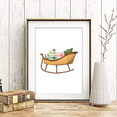 Din A4 Kunstdruck ungerahmt - Weihnachtsschlitten - Schlitten Geschenke Advent Winter Weihnachten Weihnachtszeit Druck Poster Deko Bild