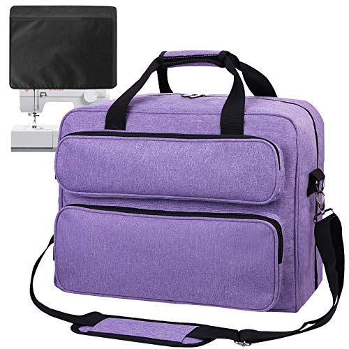 Sewing Machine Carrying Case Tote Universal Tote Bag Large Capacity Waterproof Canvas Storage Bags with Pockets and Handles for Most Standard Singer,Brother,Janome(Bag Only), Purple