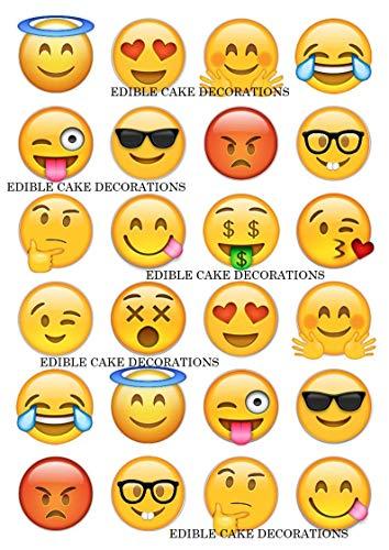 24 x Emoji-Aufsätze aus Esspapier, lustige Gesichter, für Cupcakes, Kuchen und Kuchen