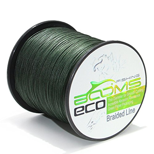 Booms Fishing ECO 100% UHMWPE Braided Fishing Line 500 Yard Green 100 Lb 1ALSTGN500100