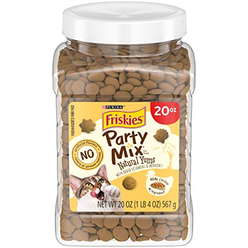 Purina Friskies Made in USA Facilities, Natural Cat Treats, Party Mix Natural YUMS with Real Chicken - 20 oz. Canister